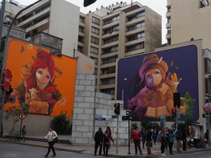 Graffitis géants du centre ville de Santiago