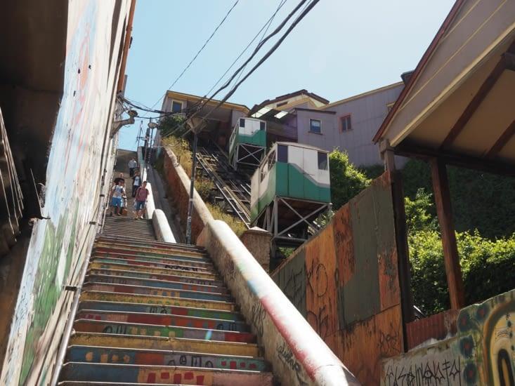 Escaliers adossés à un funiculaire de Valparaiso