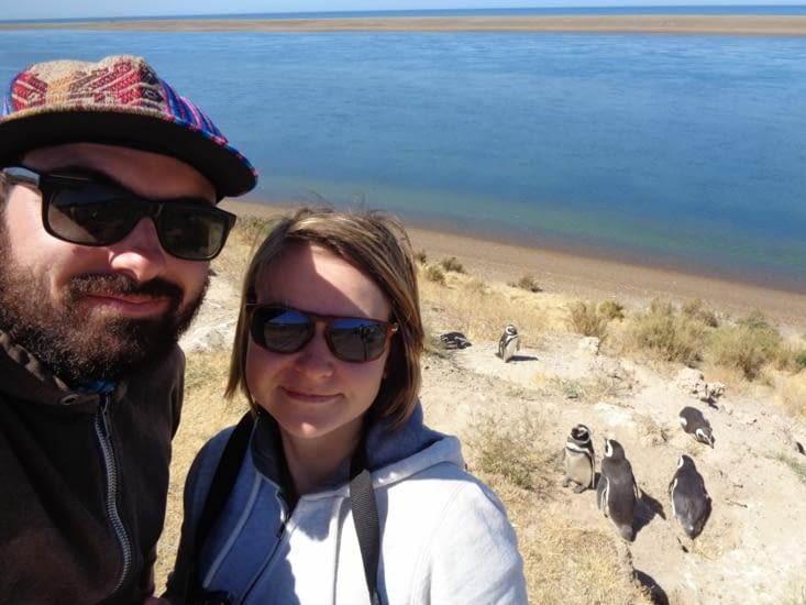 Selfie devant la colonie de manchots