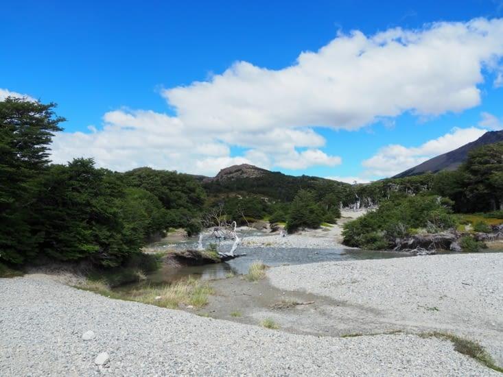 Les rivières du parc de randonnées autour d'El Chalten