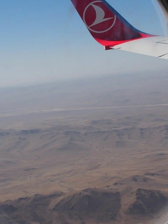 Survol à l'arrivée en Mongolie