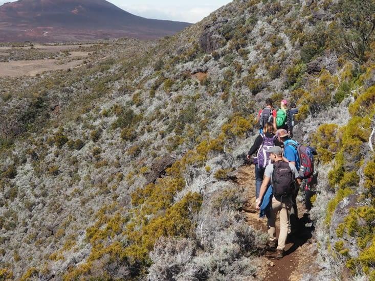Petit chemin dans la montagne au dessus de la plaine des sables