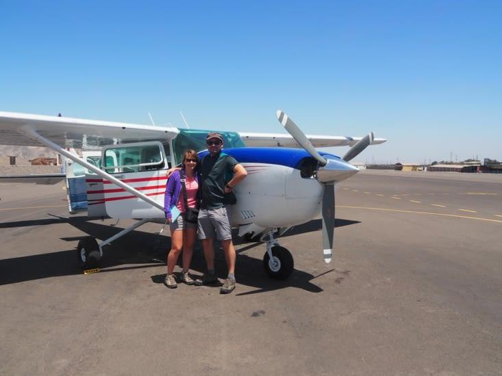 Vol au dessus des lignes de Nazca : notre coucou et nous !