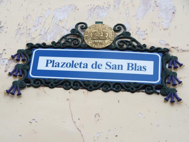 Blason de rue de quartier San Blas de Cusco