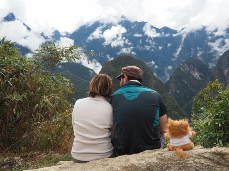 Moment de detente en haut du Machu Picchu