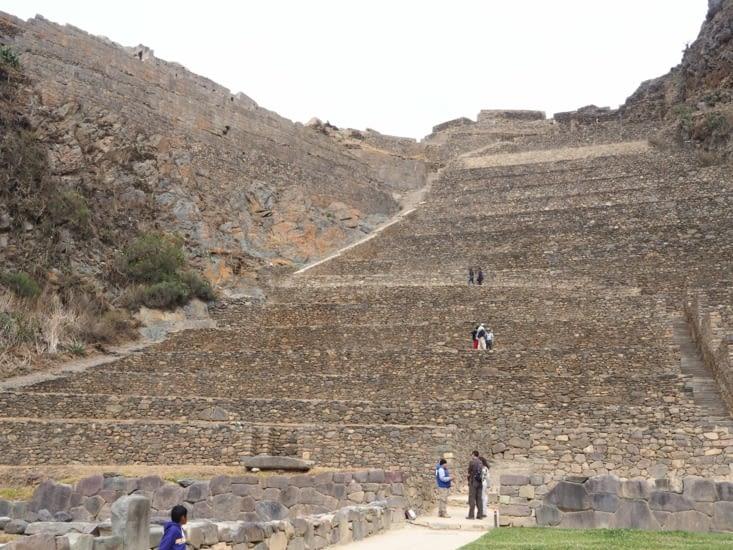 La fortesse d'Ollantaytambo vue d'en bas