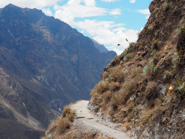 Le sentier au bord des falaises lors de la descente du Canyon