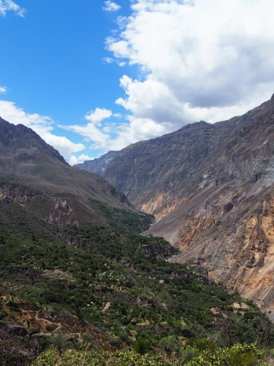 Une vue sur le canyon lors de notre chemin jusqu'à l'oasis