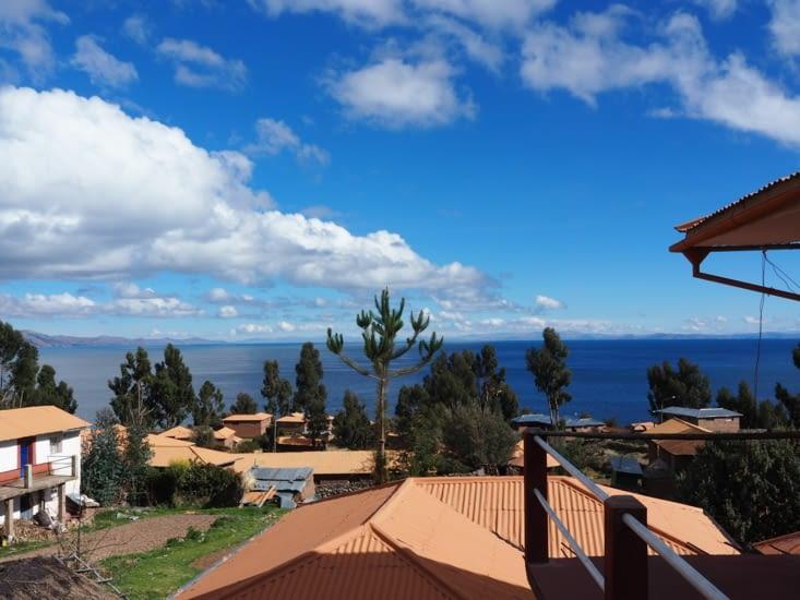 La vue depuis chez Ivan, du haut de l'ile d'Amantani