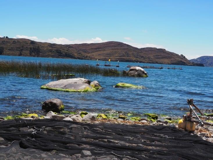 Sur les rives du lac Titicaca, les filets de pêche