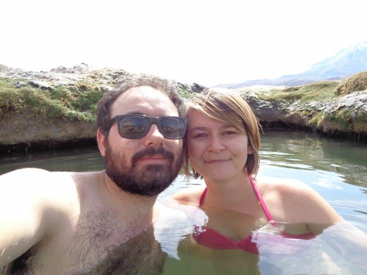 Selfie dans les sources thermales du parc du Sajama