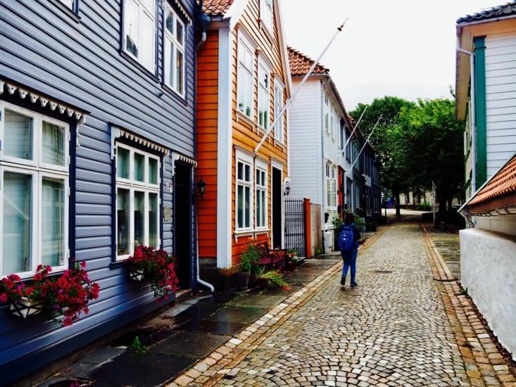 Les rues de Bergen et son quartier coloré : Bryggen