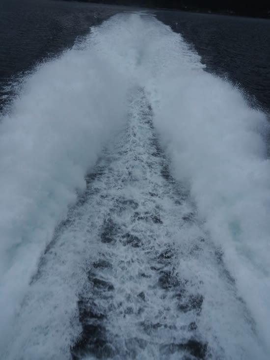 Le ferry avance à plus de 50km/h