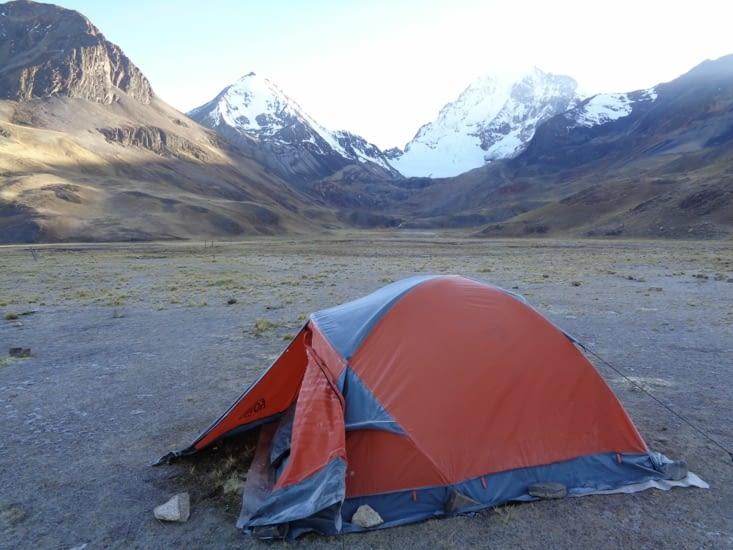 Notre tente givrée au réveil