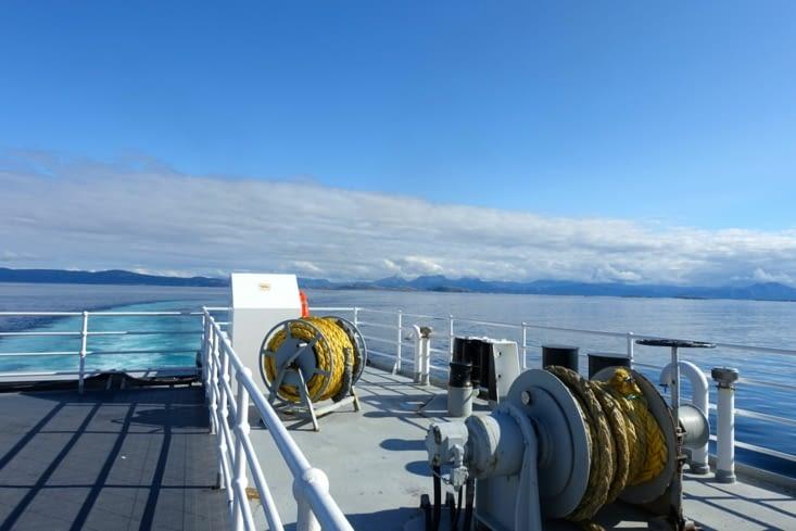 A bord du ferry en direction des iles Lofoten depuis Bodo
