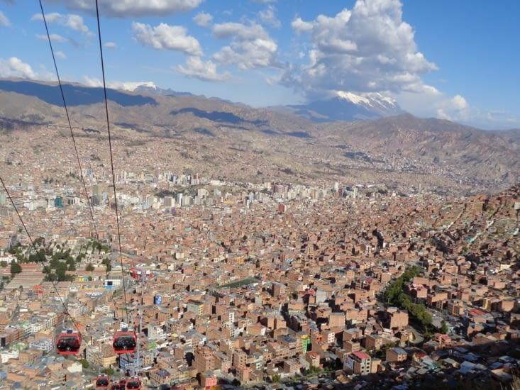 La vue de la Paz depuis le téléphérique