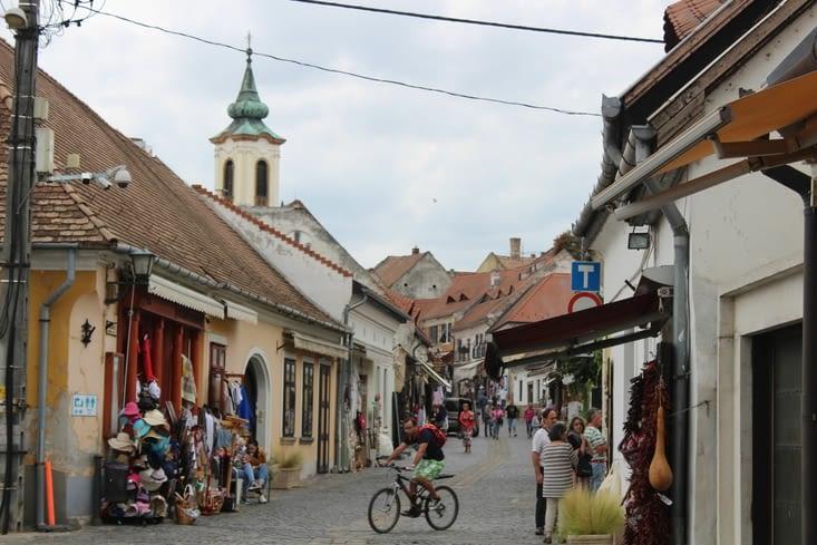 Les rues remplies de commerces à l'entrée du centre ancien