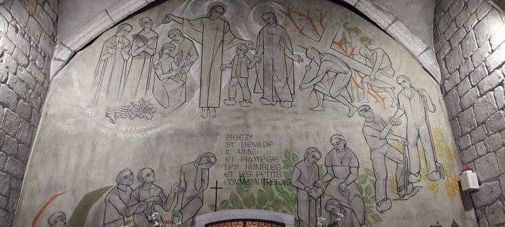 A l'église repose Saint Bénilde, saint patron des accordéonistes (là aussi, je raconterai.