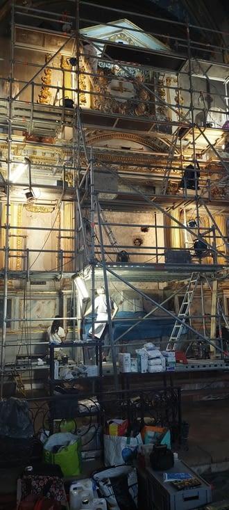 La première église visitée est en rénovation.