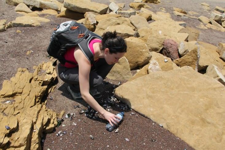 Récupération de sable du désert d'Atacama
