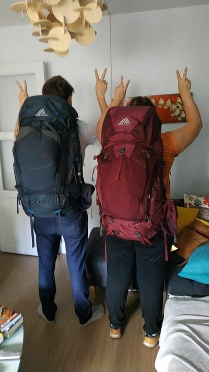Essai des sacs à dos pleins quelques jours avant