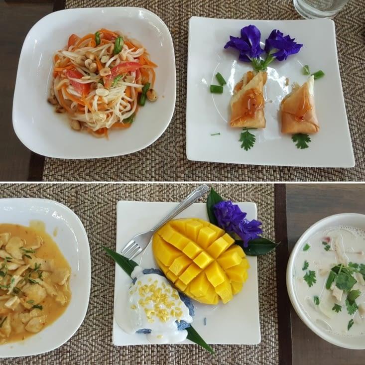 Pad Thaï, riz gluant, rouleau de printemps thaï, soupe au lait de coco