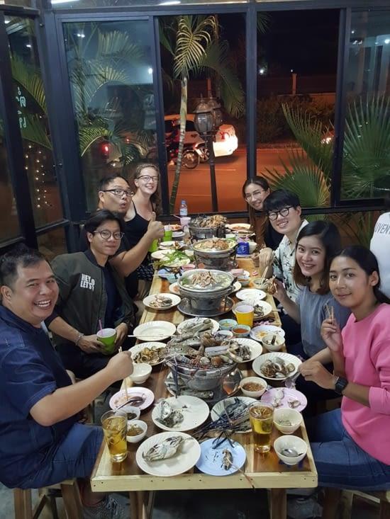 Le dernier repas avec les collègues (grillades de fruits de mer)
