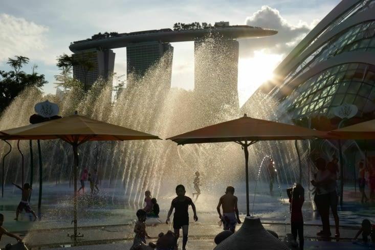 jeux d'eau dans le parc