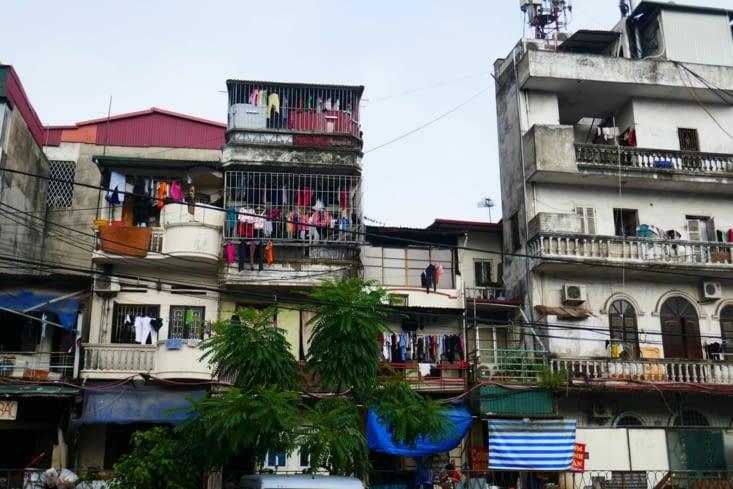 Les immeubles sont extrêmement étroits