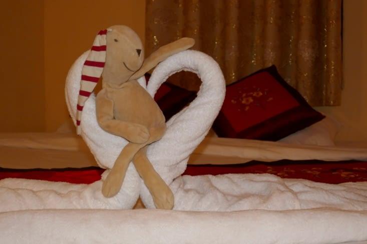 Doudou dans notre belle chambre à Luang Prabang