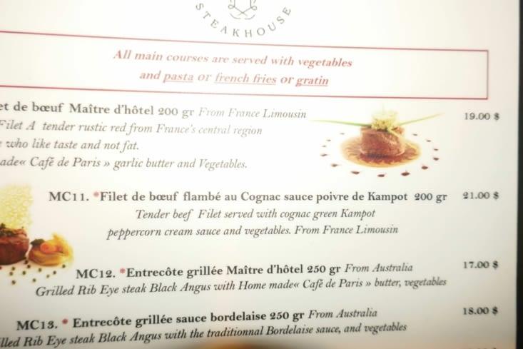 Pour nous ce sera le filet de boeuf au poivre de Kampot : un délice