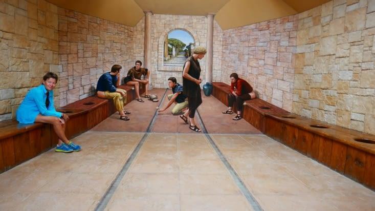 Trompe l'oeil dans les toilettes romaines