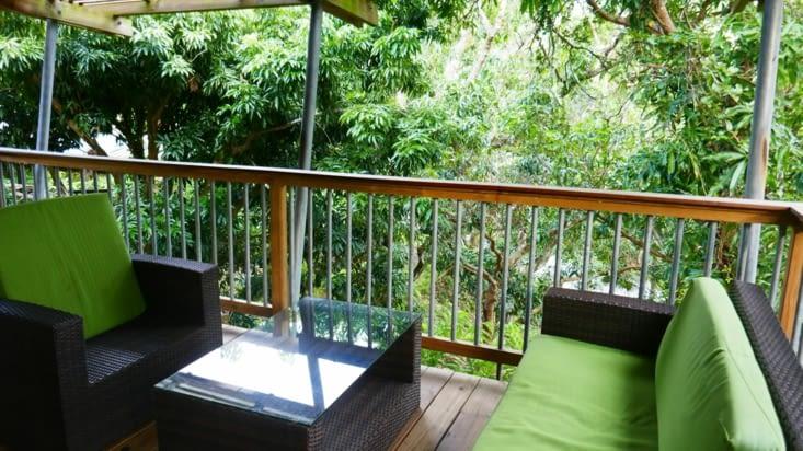 Avec une belle terrasse donnant sur une végétation principalement composée de manguiers.