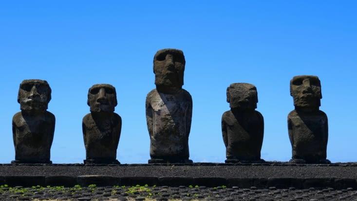 Parmi eux se trouve le plus gros Moai de l'île