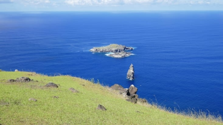 vue du village vers la fameuse île (la plus loin) où récupérer les oeufs