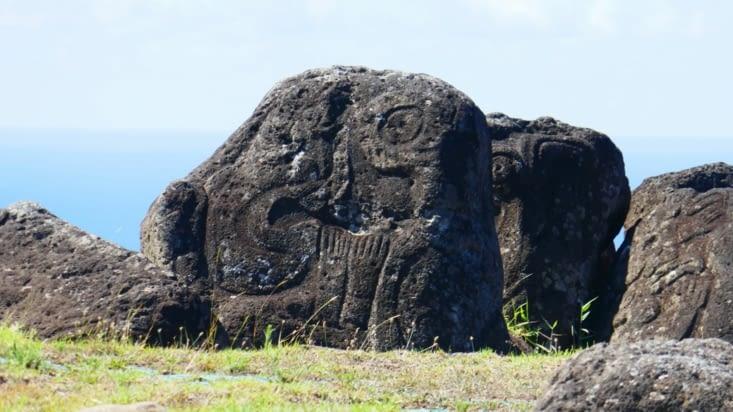 De véritables hiéroglyphes Pascuans sur le site de l'homme-oiseau