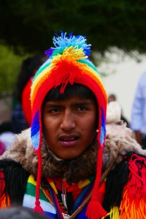 Le célèbre bonnet péruvien (sur une authentique tête péruvienne. ...)