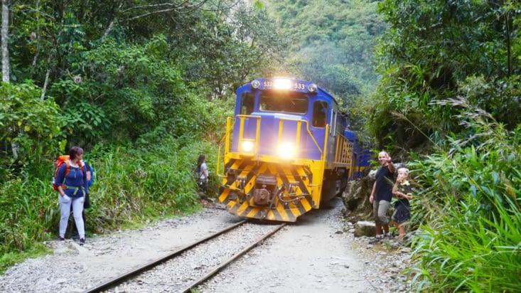 Un bon gros klaxon de locomotive et le train passe tout près de nous