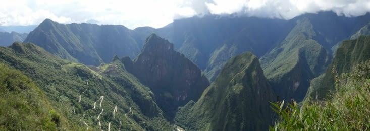 Aguas Calientes (le village) en bas au centre et la route qui monte au Machu Picchu