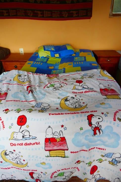 Je ne pouvais que passer une bonne nuit dans des draps avec Snoopy !!!