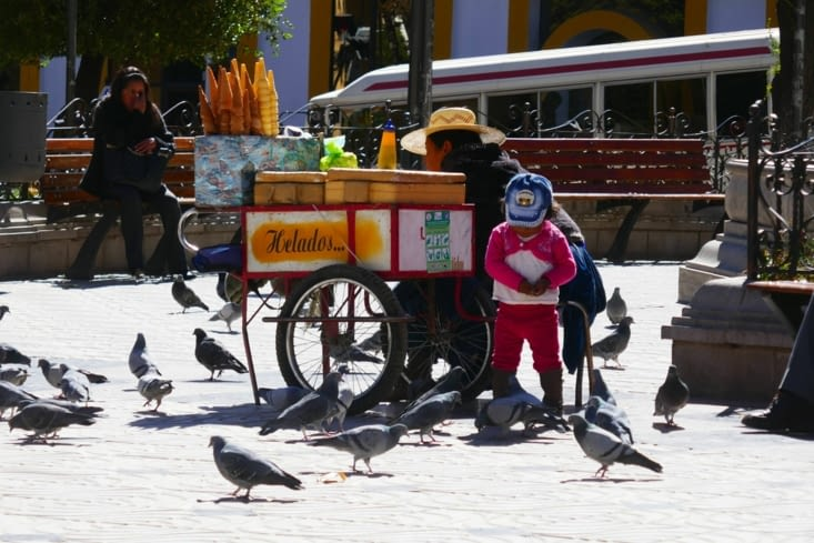 Ils aiment nourrir les pigeons en Bolivie