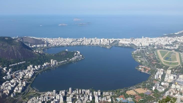 Le lac Rodrigo de Freitas avec notre quartier d'IPANEMA au fond