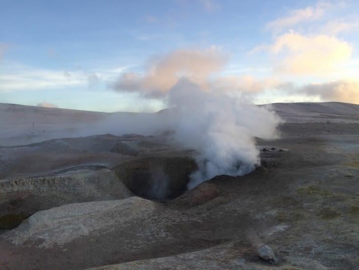 Au milieu des geysers de bon matin !