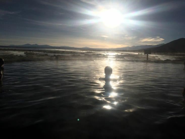 Puis le lever du soleil dans une eau à 38 !!