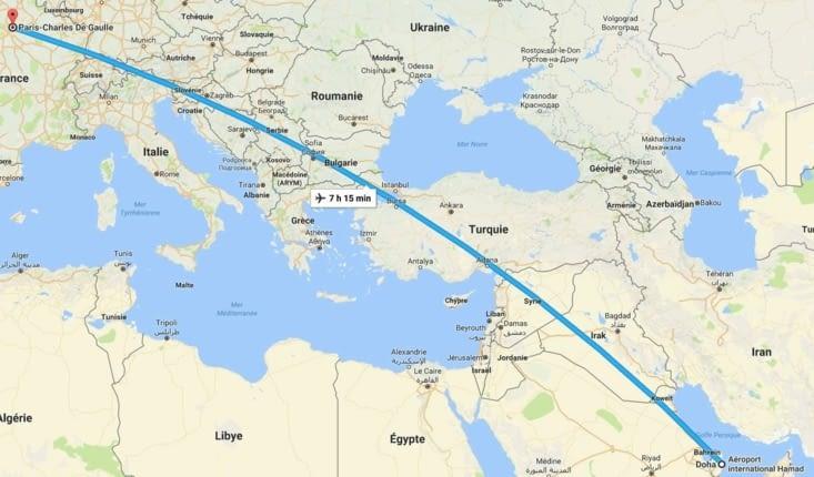 Charles de Gaule / Doha (Qatar) 7h15 à 900km/h et 10000 pieds