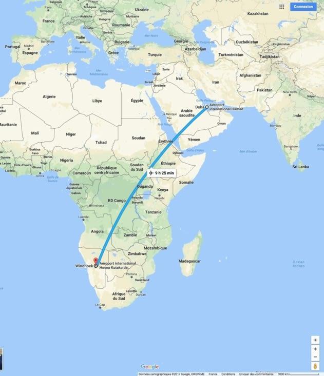 Doha / Windoek 9h30 à planer dans le ciel d'Afrique