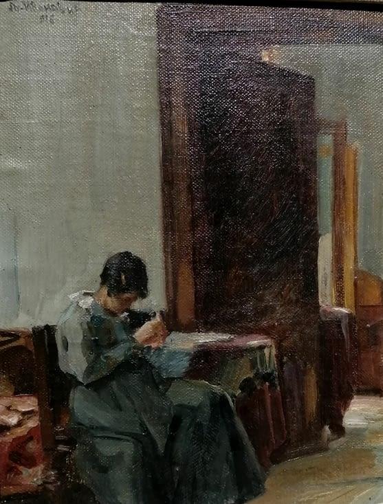 Femme dans un intérieur  Lioubomir Ivanovitch 1916