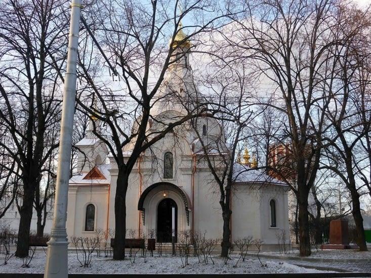 La petite chapelle sous la neige à Novodievitchi