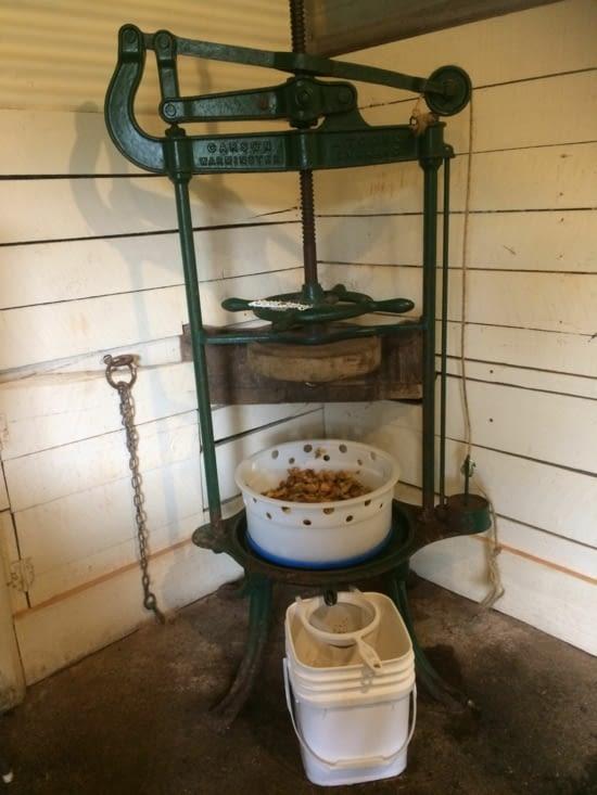 La presse à fromage ici utilisée pour le cidre