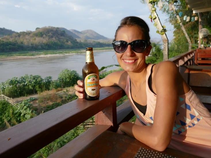 Couche de soleil au bord du Mekong